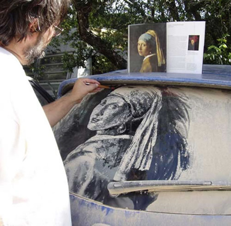 Scott Wade Girl wit the Pearl Earring on a dirty Car